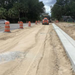 New curb and gutter section